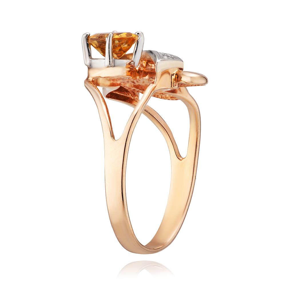 Кольцо из золота с цитрином и фианитами