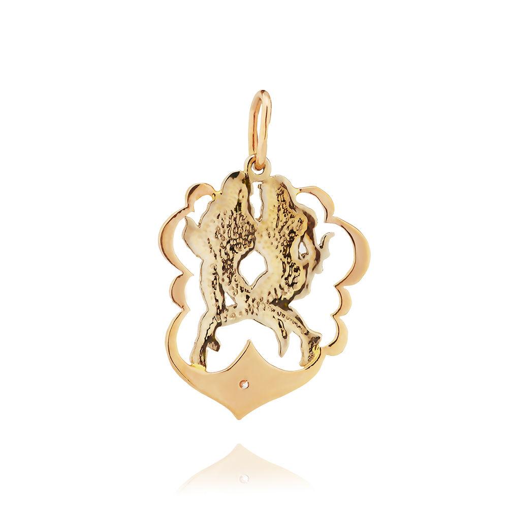 Подвеска из золота с фианитом, знак зодиака Близнецы