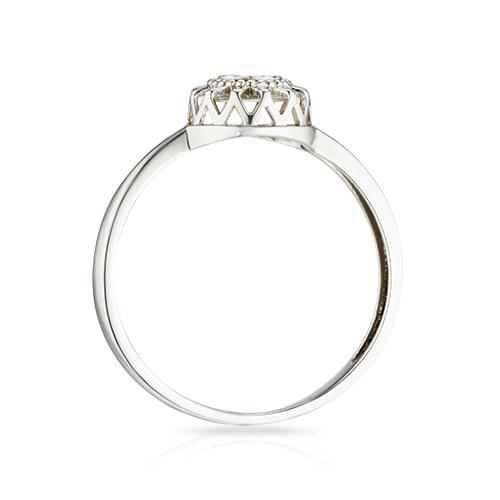 Кольцо с бриллиантом, алмазной гранью и родированием