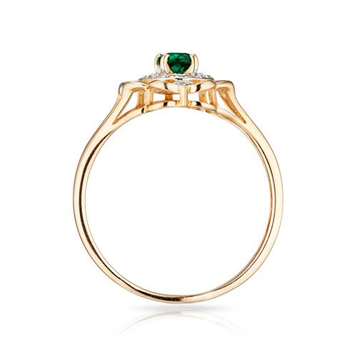 Кольцо с гидротермальным изумрудом, бриллиантами и родированием