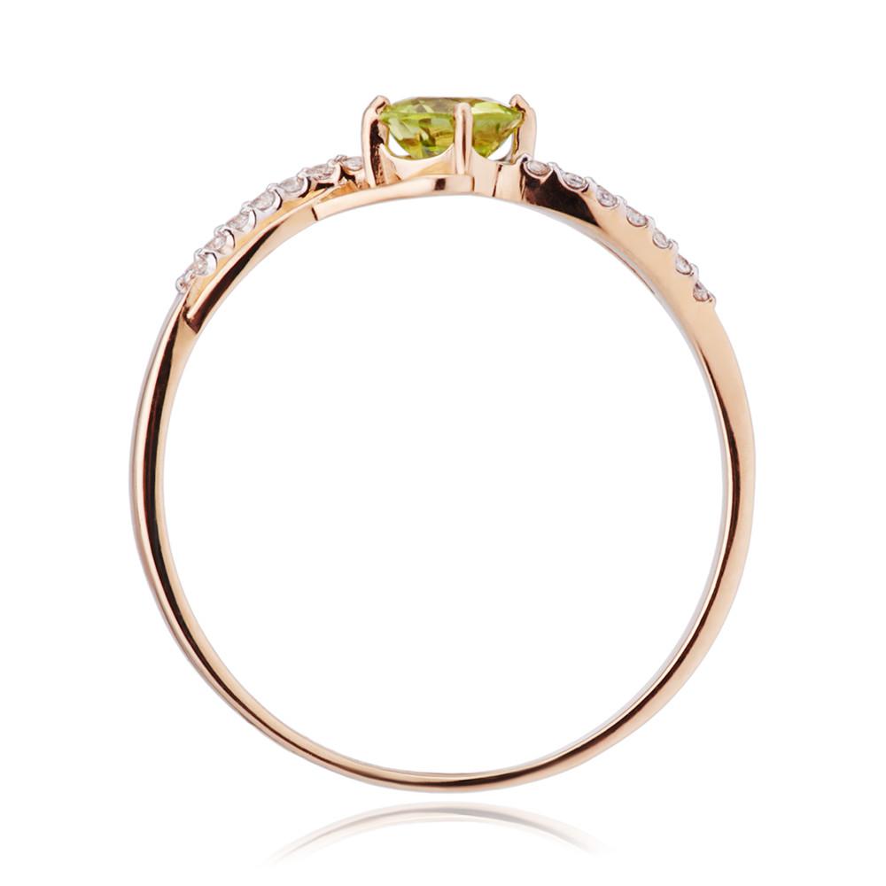 Кольцо с хризолитом и фианитами