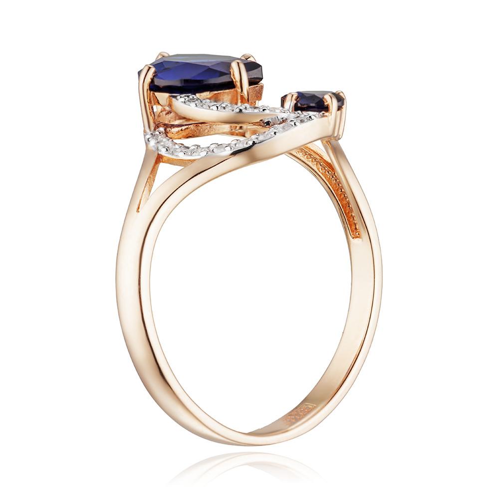 Кольцо с сапфирами корунд (синтетическими), бриллиантами и родированием