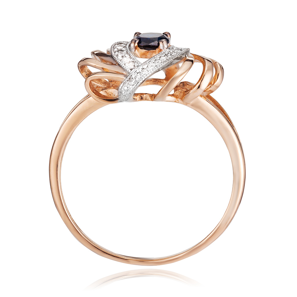 Кольцо с сапфиром и бриллиантами из золота