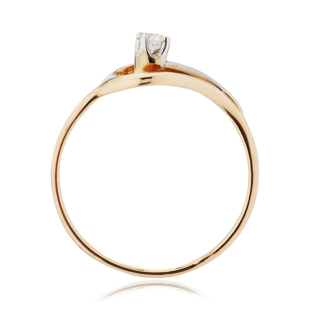 Кольцо с бриллиантом и родированием