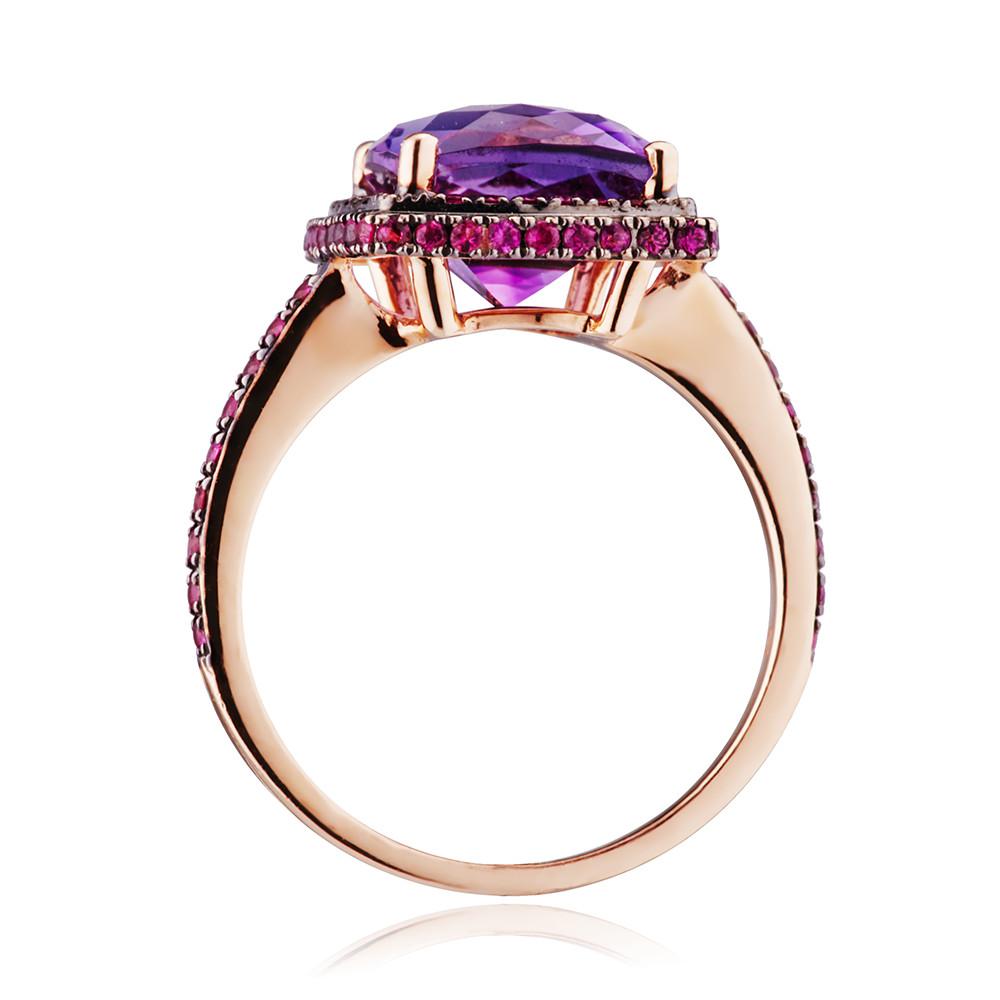 Кольцо с аметистом и розовыми сапфирами