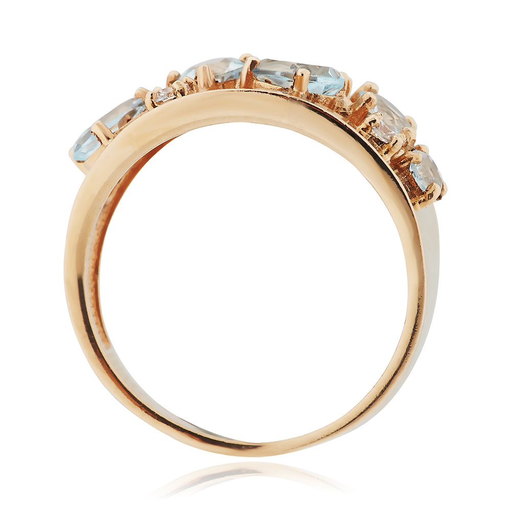 Кольцо с топазами и фианитами