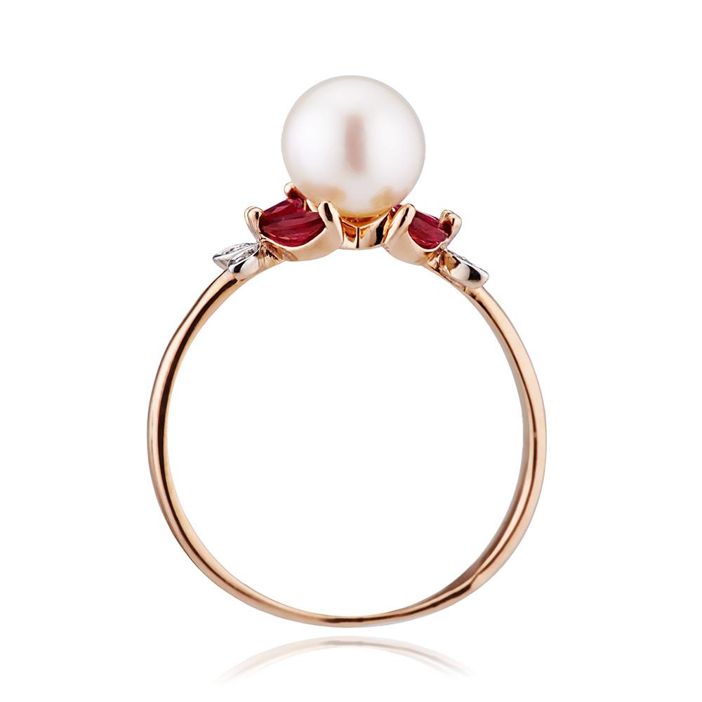 Кольцо с жемчугом, рубинами и бриллиантами из золота
