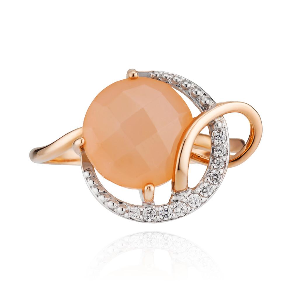 Кольцо с розовым ониксом и фианитами
