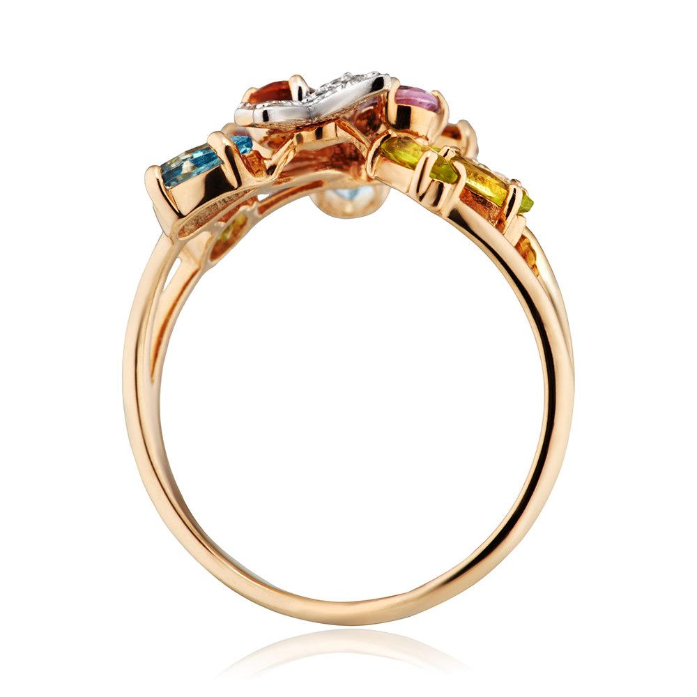 Кольцо из золота с аметистами, хризолитами, цитринами, топазами и фианитами