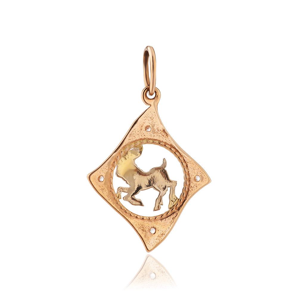 Подвеска из золота с фианитами, знак зодиака Козерог