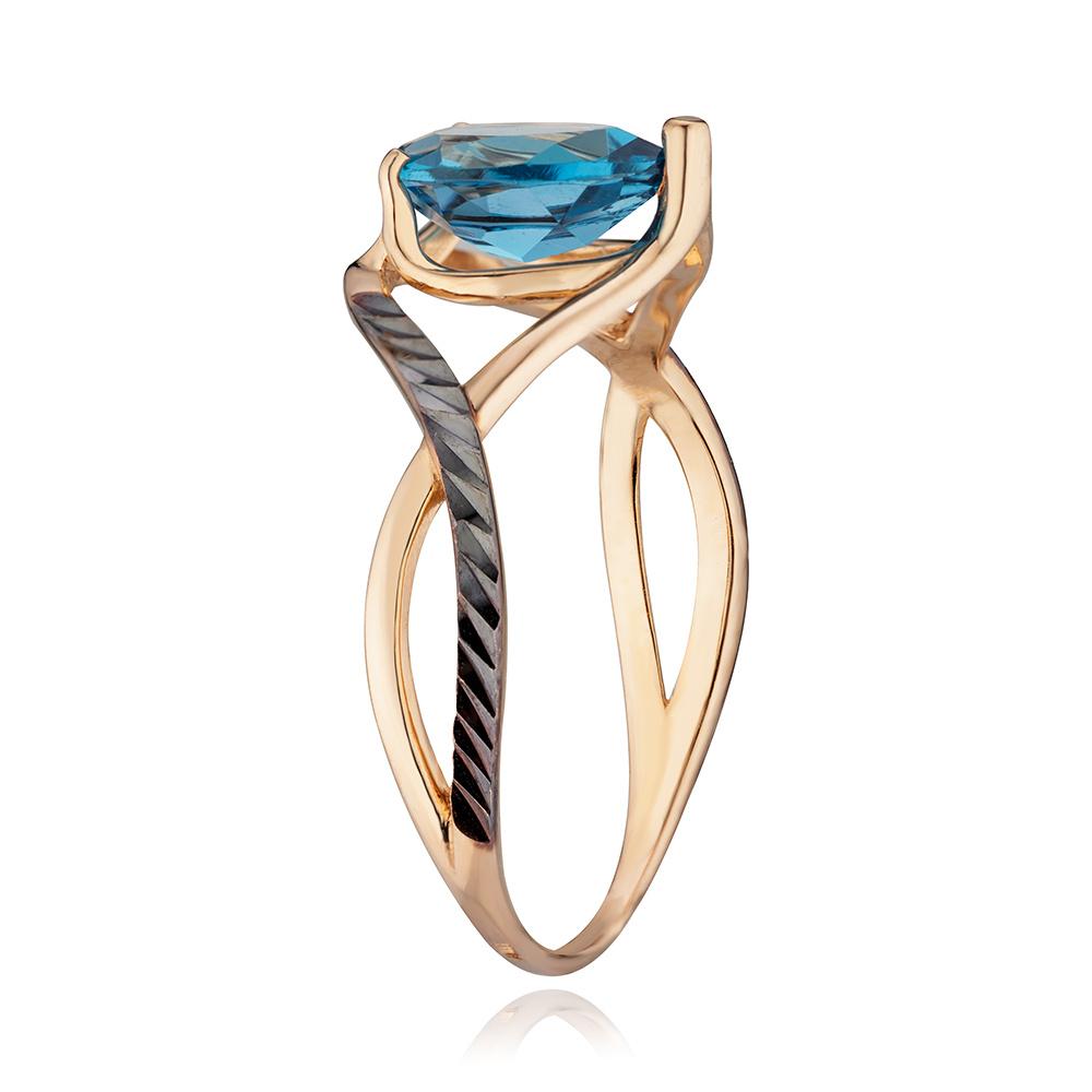 Кольцо с топазом London, чёрным родированием и алмазной гранью