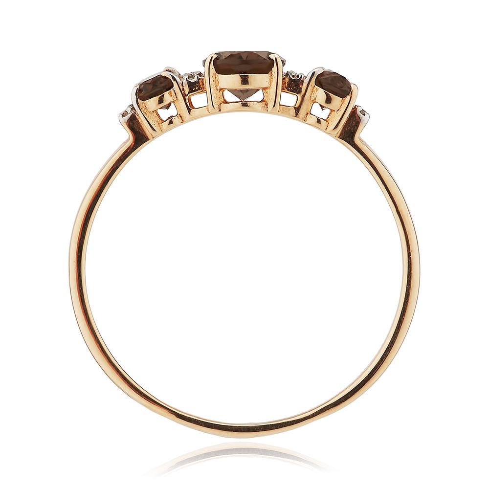 Кольцо из золота с раух-топазами и бриллиантами