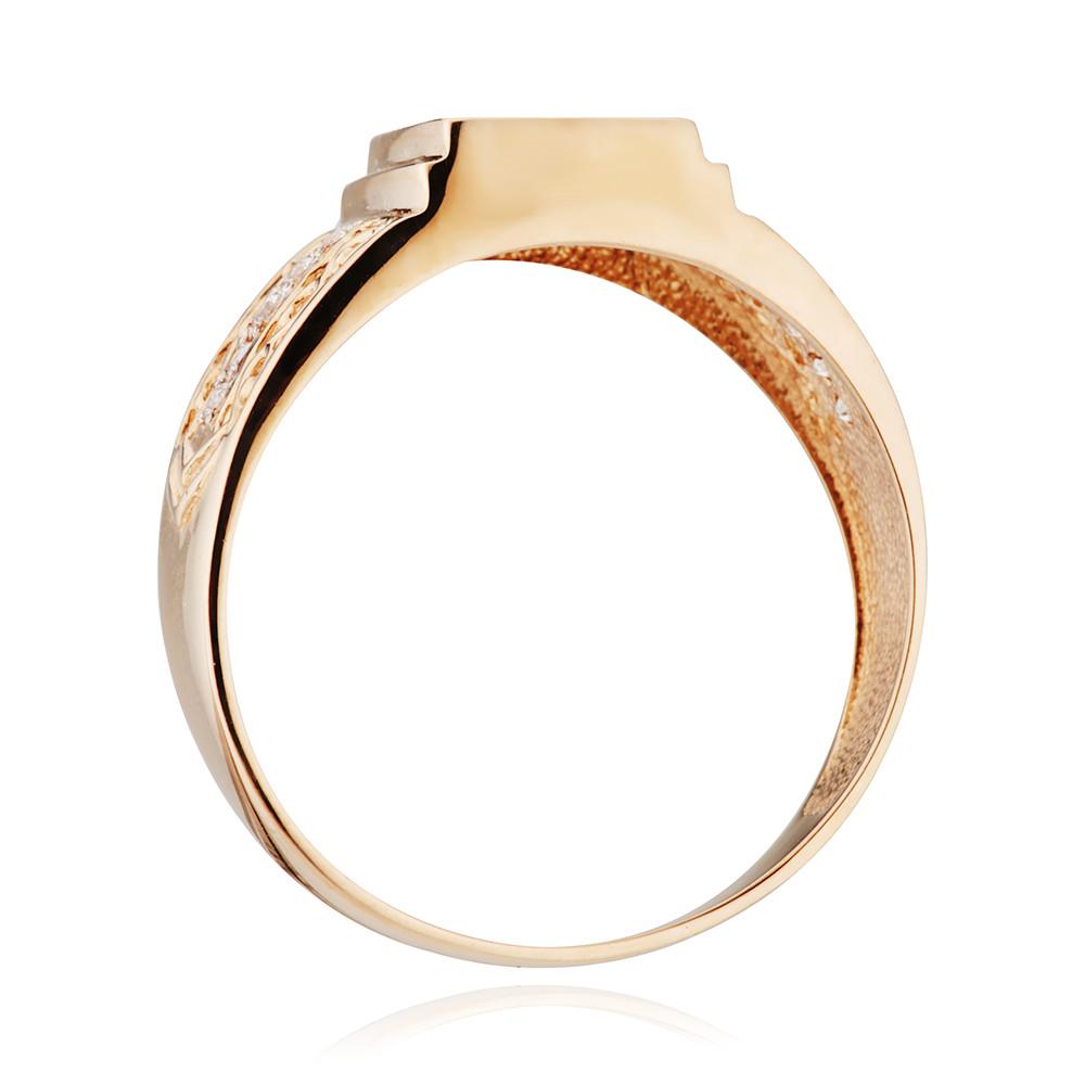 Кольцо-печатка из золота с гранатом и фианитами