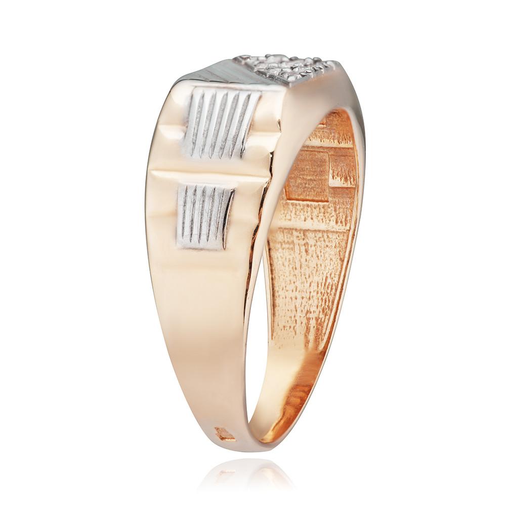 Кольцо печатка с фианитами, алмазной гранью