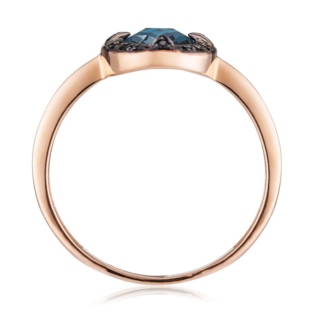 Кольцо с топазом London и черными фианитами