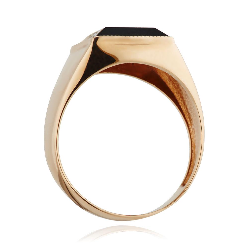 Кольцо-печатка с фианитами и родированием