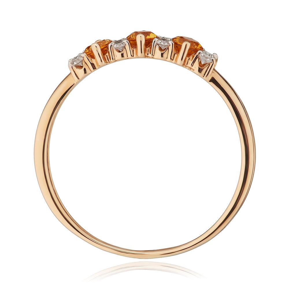 Кольцо с цитринами и бриллиантами из золота