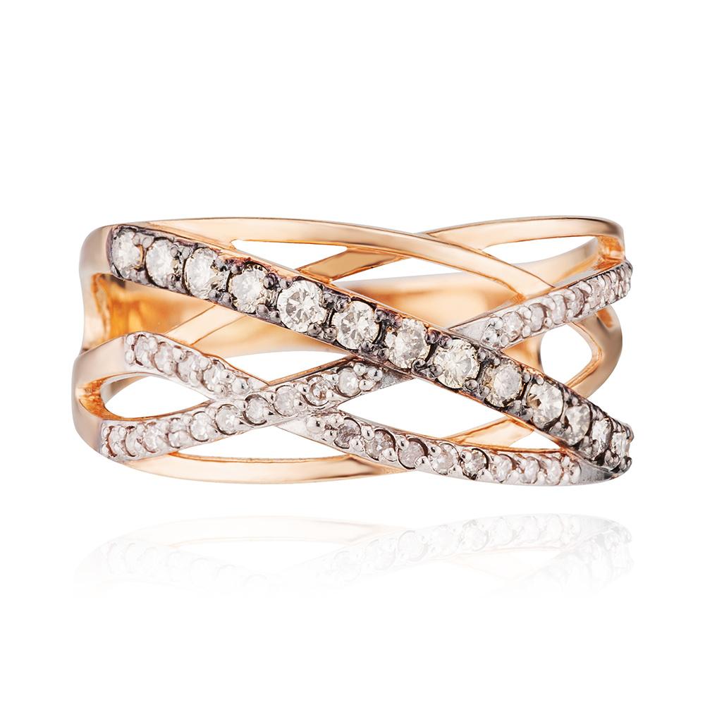 Кольцо с белыми и коньячными бриллиантами