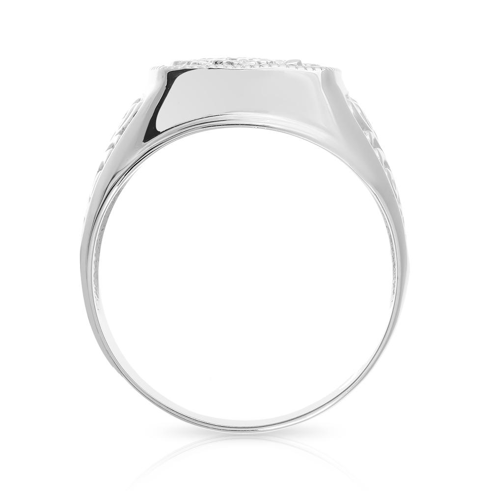 Кольцо-печатка с фианитом из серебра