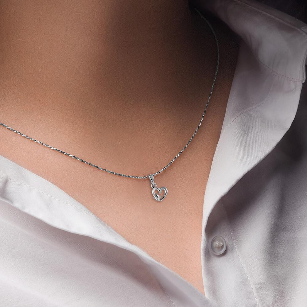Подвеска SOKOLOV Сердце из серебра с фианитом