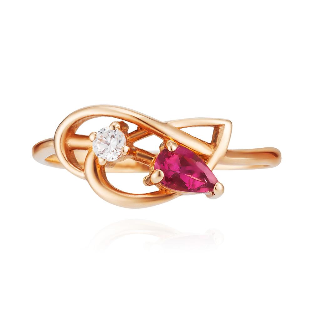 Кольцо с розовым турмалином и фианитами
