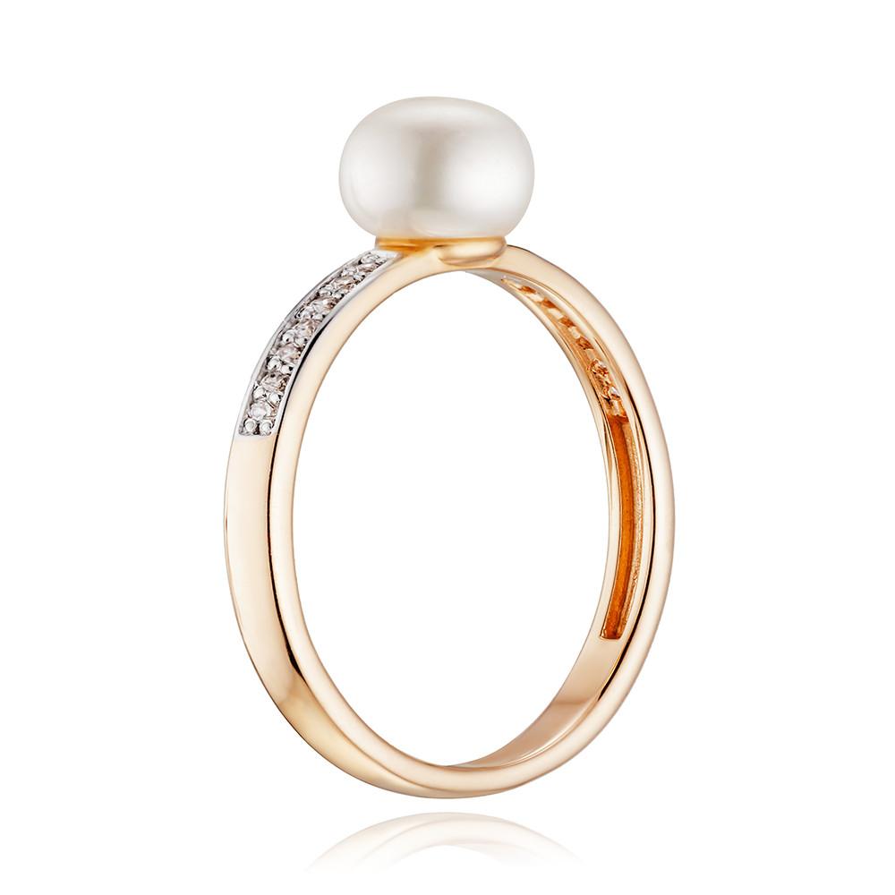 Кольцо с белым жемчугом, фианитами и родированием