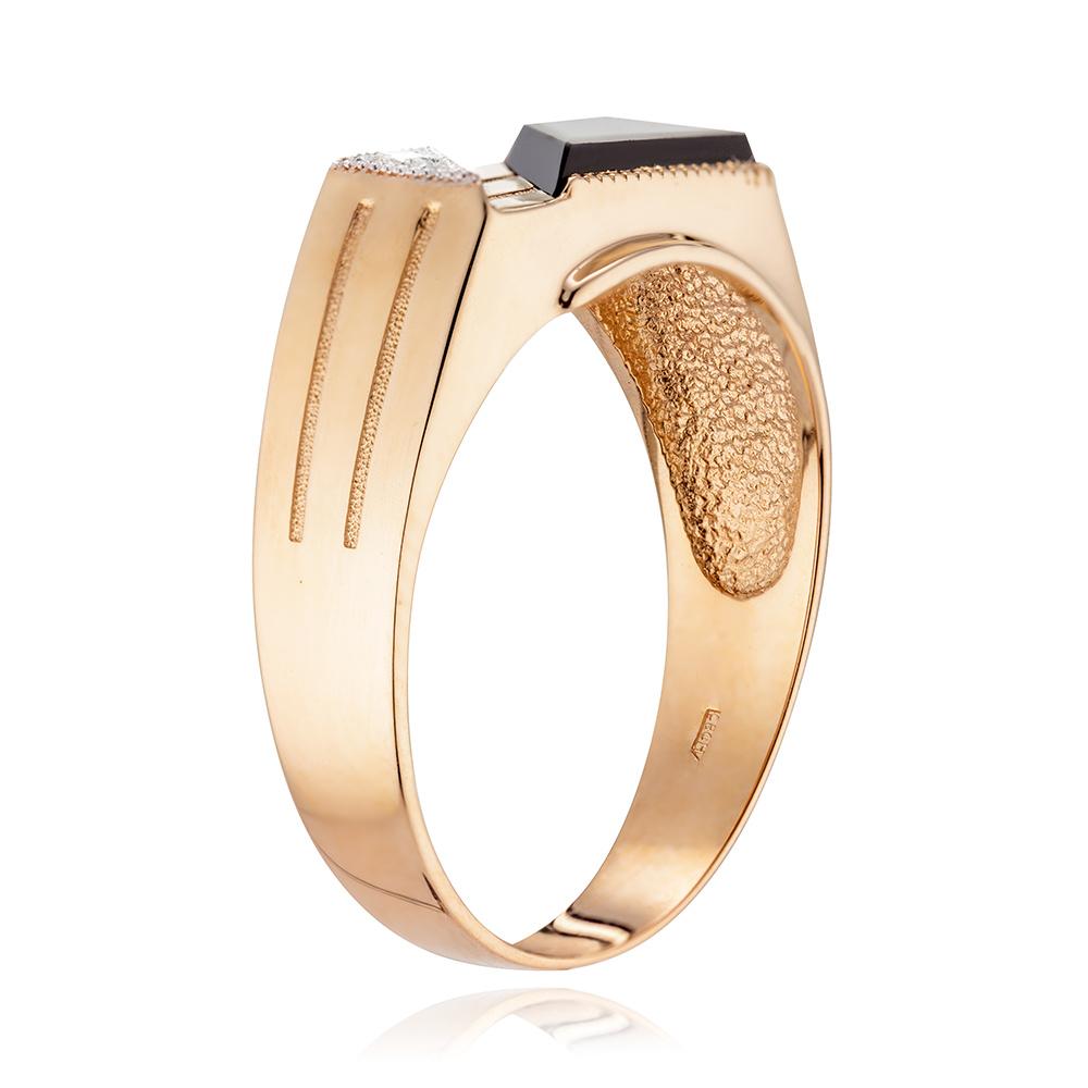 Кольцо-печатка с агатом и бриллиантом