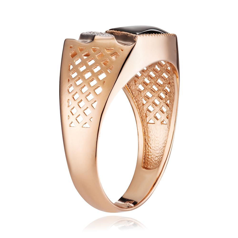 Кольцо-печатка с ониксом и бриллиантами