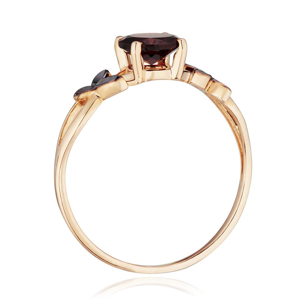 Кольцо-трансформер  с гранатом, чёрным родированием и алмазной гранью