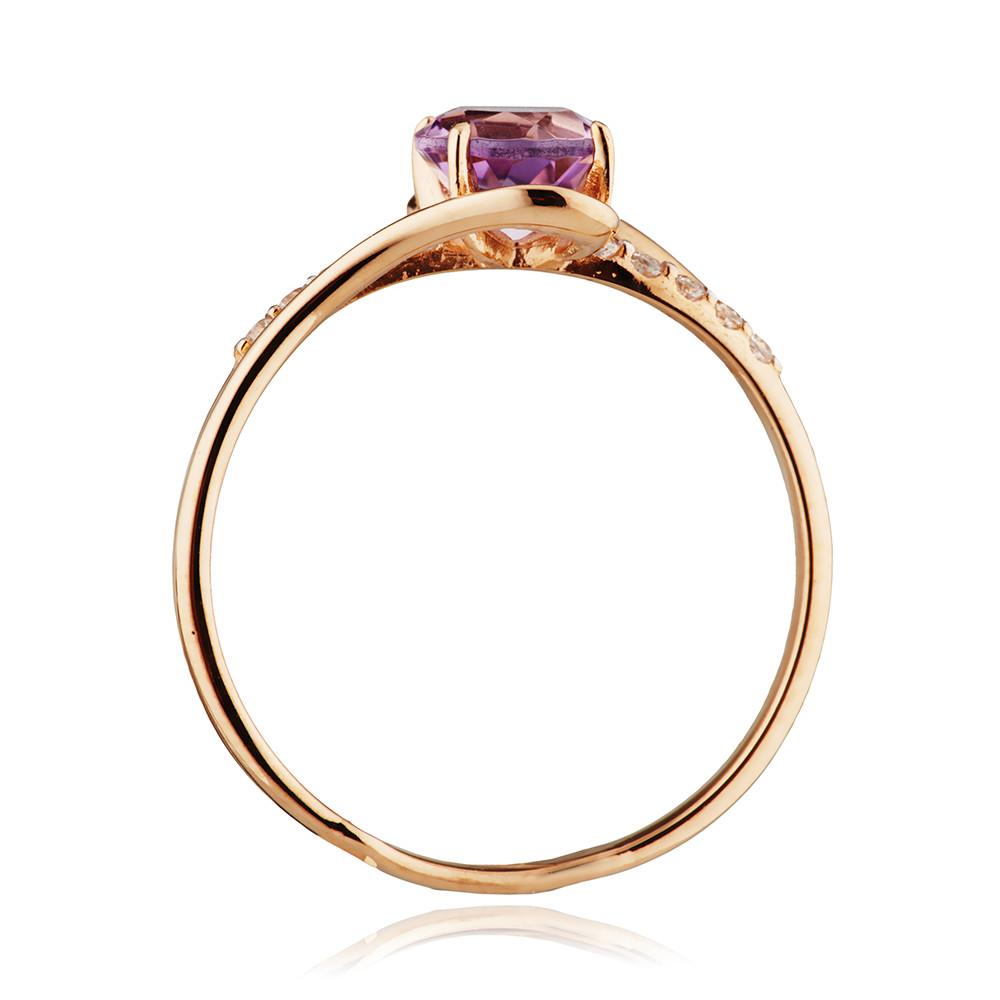 Кольцо с аметистом и фианитами из золота