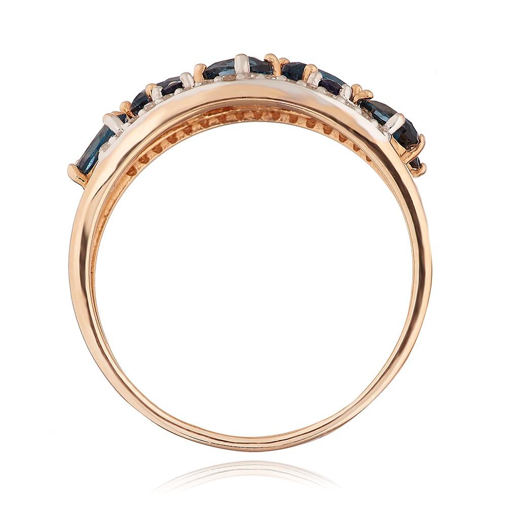 Кольцо с топазом London, сапфирами и бриллиантами