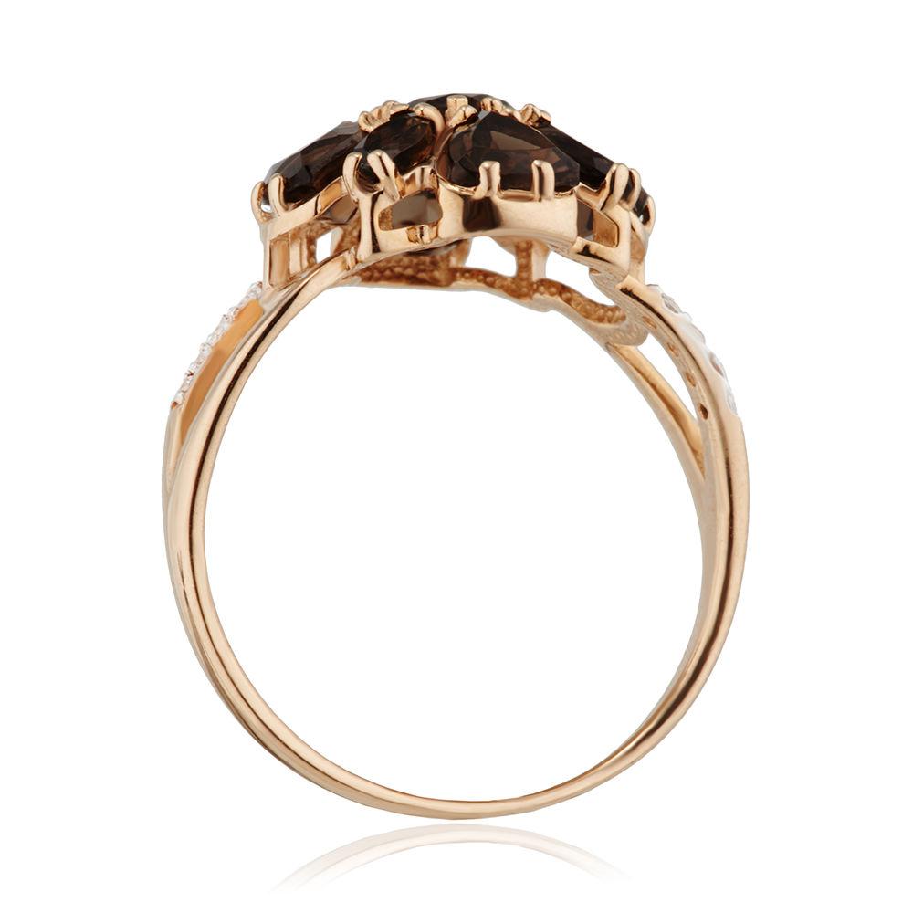 Кольцо с раух-топазами и фианитами
