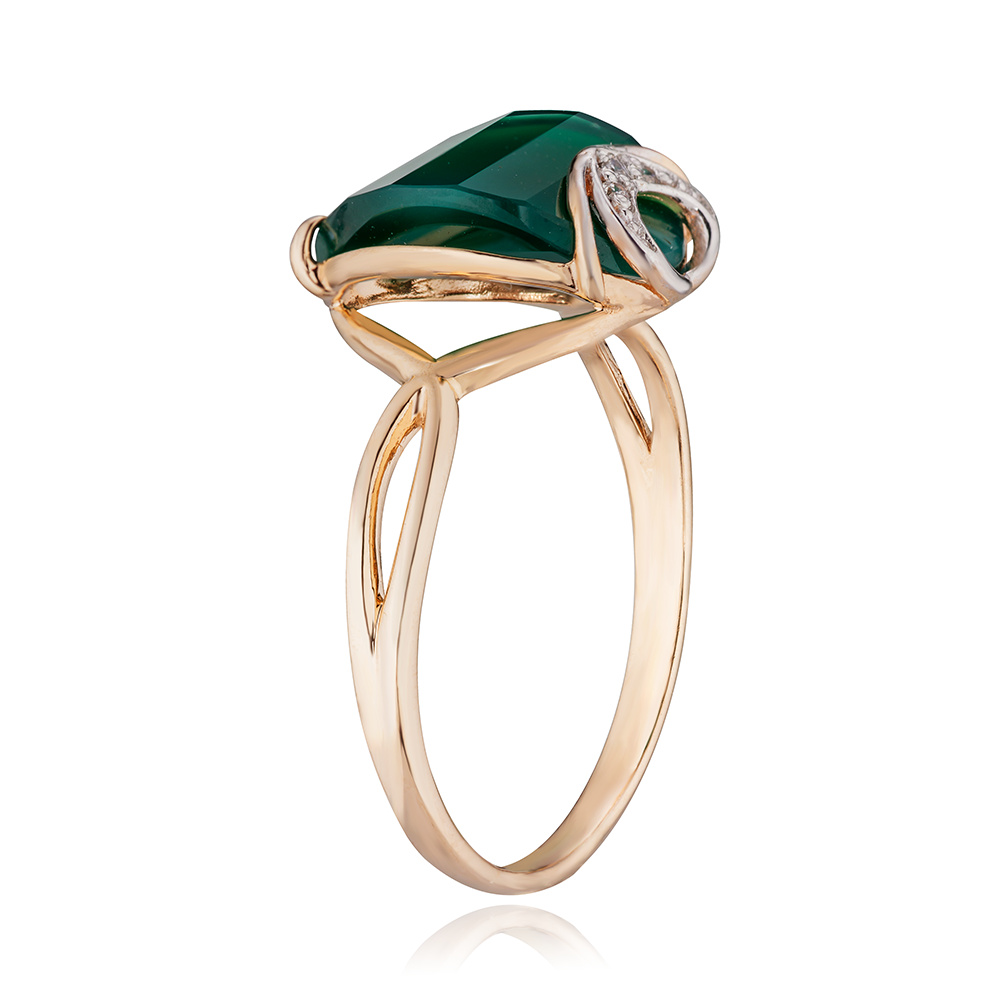 Кольцо с зелёным агатом, фианитами и родированием