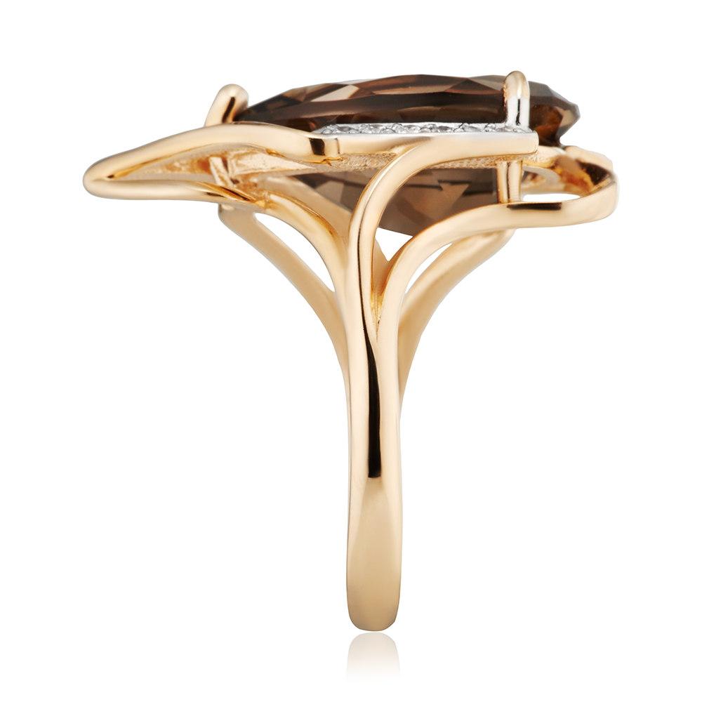 Кольцо с раух-топазом и фианитами