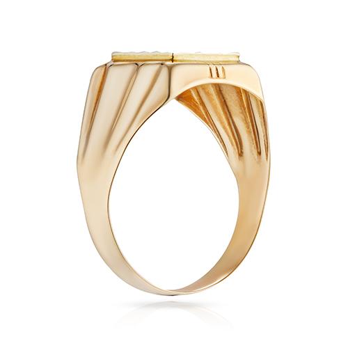 Кольцо-печатка с алмазной гранью и родированиеи