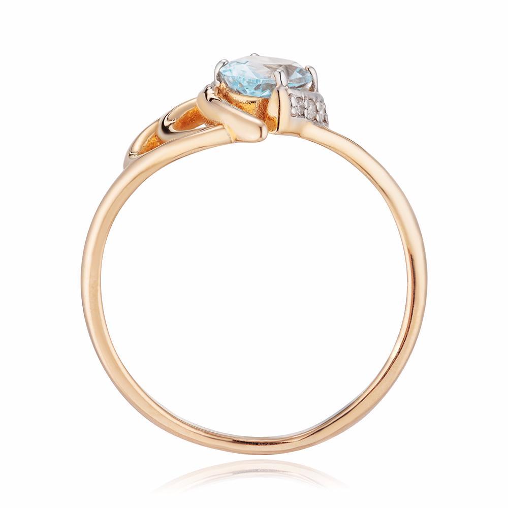 Кольцо с топазом Sky, бриллиантами и родированием