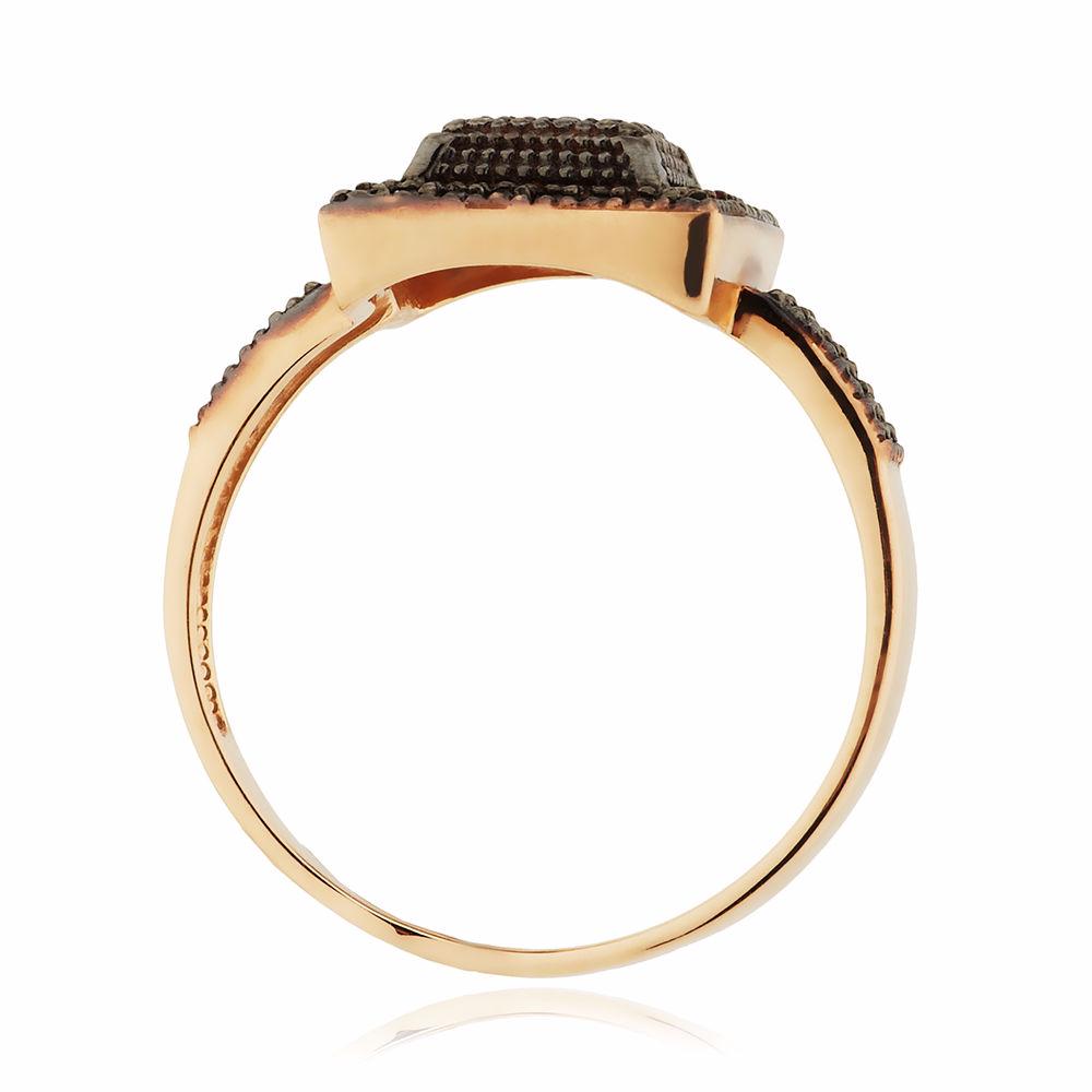 Кольцо с чёрными бриллиантами и родированием