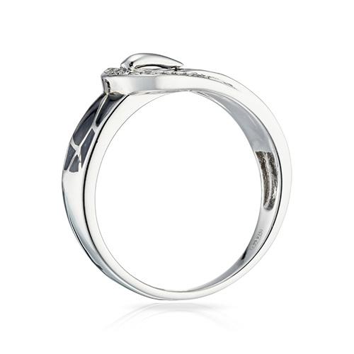 Кольцо с фианитами, эмалью и родированием