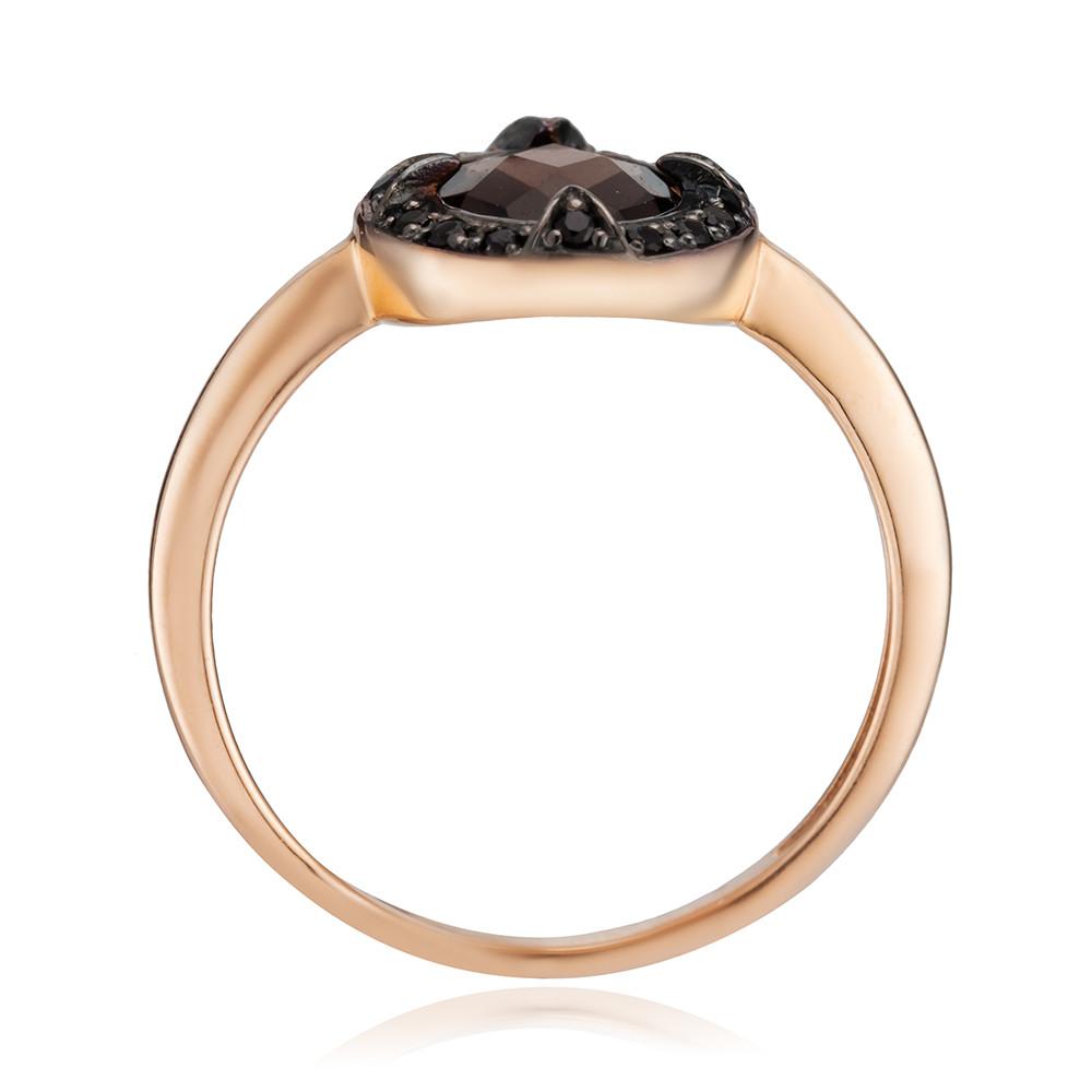 Кольцо с раух-топазом и черными фианитами