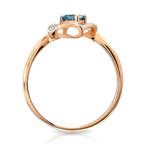 Кольцо с топазом London, бриллиантами и родированием
