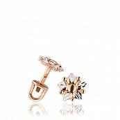 Серьги-пуссеты с алмазной гранью и родированием